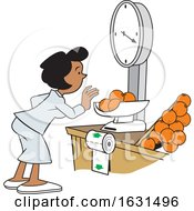 Black Woman Weighing Oranges On A Grocery Store Scale