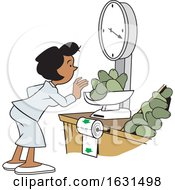 Black Woman Weighing Avocados On A Grocery Store Scale