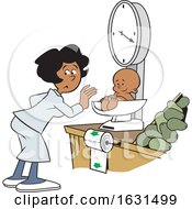 Black Woman Weighing A Baby On A Grocery Store Scale