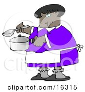 An African American Woman In A Purple Dress White Apron Gray Socks And Slippers Holding A Spoon And Pot While Cooking Soup For Supper In A Kitchen