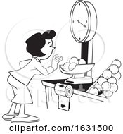 Black And White Woman Weighing Oranges On A Grocery Store Scale