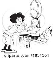 Black And White Woman Weighing A Baby On A Grocery Store Scale