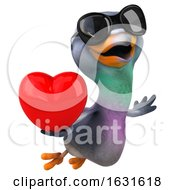 Poster, Art Print Of 3d Pigeon On A White Background