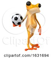 Poster, Art Print Of 3d Yellow Frog On A White Background