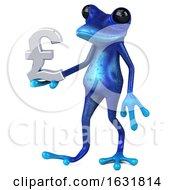 3d Blue Springer Frog On A White Background