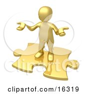 Confused Gold Person Holding Their Hands Out Because They Arent Sure What To Do About Seo And Link Exchanges To Market Their Site Clipart Illustration Graphic