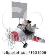 3d Business Holstein Cow Flying A Plane On A White Background
