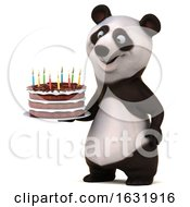 3d Panda Holding A Birthday Cake On A White Background