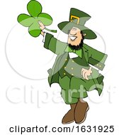 Cartoon St Patricks Day Leprechaun Holding Up A Four Leaf Clover