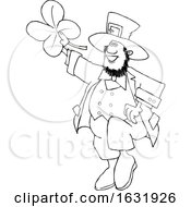 Cartoon Black And White St Patricks Day Leprechaun Holding Up A Four Leaf Clover