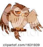 Cartoon Perched Owl