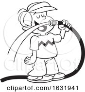 Cartoon Black And White Boy Drinking Water From A Garden Hose
