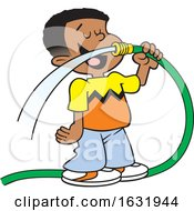 Cartoon Black Boy Drinking Water From A Garden Hose