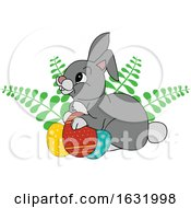 Bunny Rabbit With Ferns And Easter Eggs