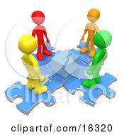 Group Of Diverse Diffferent Colored People Standing On Blue Puzzle Pieces And Holding Their Voting Ballots In Envelopes While Looking Down At A Ballot Box Clipart Illustration Graphic