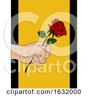 Poster, Art Print Of Hand Drawn Rose And Hand On Yellow Panel