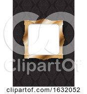 Elegant Gold Frame On Decorative Wallpaper