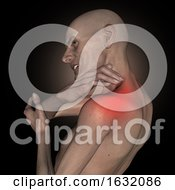 3D Old Thin Man Holding Shoulder Highlighted In Pain