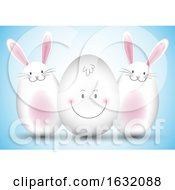Poster, Art Print Of Easter Egg And Bunny Background
