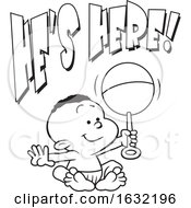 Poster, Art Print Of Lineart Black Baby Boy Holding A Rattle Under Hes Here Text