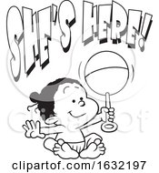 Poster, Art Print Of Lineart Black Baby Girl Holding A Rattle Under Shes Here Text