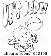 Poster, Art Print Of Black And White Baby Boy Holding A Rattle Under Hes Here Text
