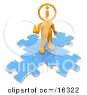 Orange Person With An I Inside His Circle Head Standing On Top Of Blue Puzzle Pieces Symbolizing Information And Technical Support Clipart Illustration Graphic