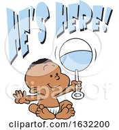 Poster, Art Print Of Black Baby Boy Holding A Rattle Under Hes Here Text