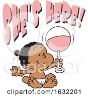 Poster, Art Print Of Black Baby Girl Holding A Rattle Under Shes Here Text