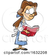 Poster, Art Print Of Cartoon Belle Reading A Book