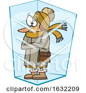 Cartoon White Woman Deep Frozen In Ice