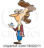 Cartoon White Woman Holding A Tiny Card