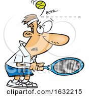 Poster, Art Print Of Cartoon White Male Tennis Player Being Bonked In The Head With A Ball