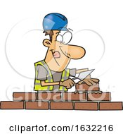 Poster, Art Print Of Cartoon White Male Mason Contractor Laying Bricks