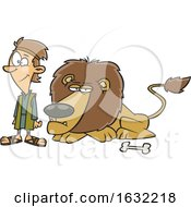 Poster, Art Print Of Cartoon Resting Lion And Daniel