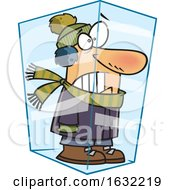 Cartoon White Man Deep Frozen In Ice