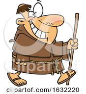 Cartoon Happy Chubby Friar Walking