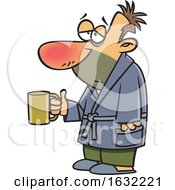 Cartoon Sick White Man Holding A Mug