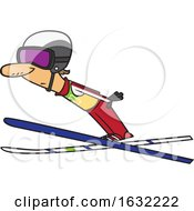 Poster, Art Print Of Cartoon White Male Ski Jumper