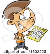Poster, Art Print Of Cartoon White Boy Writing A Schedule In His Calendar