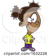 Cartoon Brave Black Girl With Hands On Her Hips