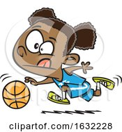 Cartoon Black Girl Dribbling A Basketball