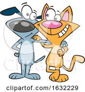 Cartoon Cat And Dog Embracing