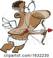 Poster, Art Print Of Cartoon Black Cupid Aiming An Arrow