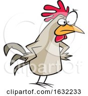 Poster, Art Print Of Cartoon Peeved Chicken With Hands On Hips