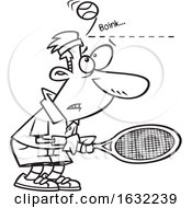 Cartoon Outline Male Tennis Player Being Bonked In The Head With A Ball