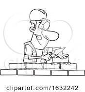 Poster, Art Print Of Cartoon Lineart Male Mason Contractor Laying Bricks