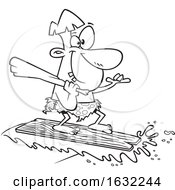 02/27/2019 - Cartoon Outline Caveman Surfing On A Board