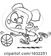 Cartoon Outline Black Girl Dribbling A Basketball