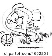 02/27/2019 - Cartoon Outline Black Girl Dribbling A Basketball